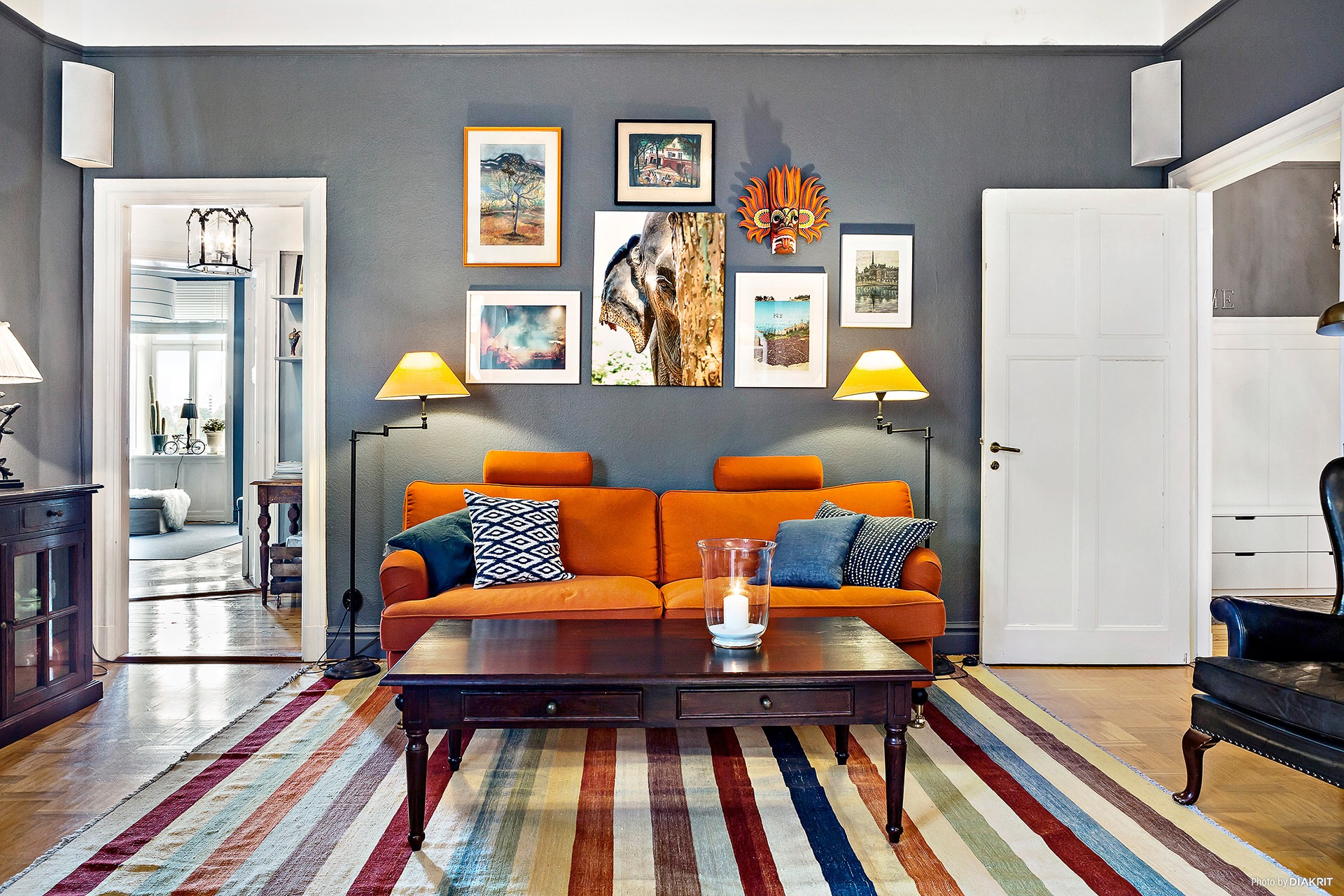 Orange sofa for fall decoration